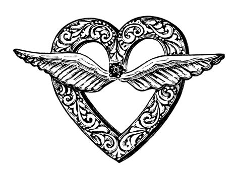 clipart fashion heart free vintage image heart shaped brooch with wings old