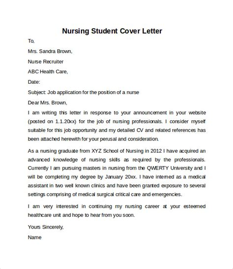 Cover Letter Nursing Student nursing cover letter exle 10 free documents