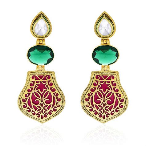 buy baroque earrings gold plated thewa enamel earrings at
