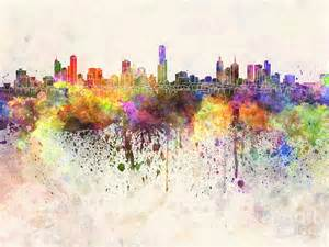 Fine Art Shower Curtain Melbourne Skyline In Watercolor Background Painting By