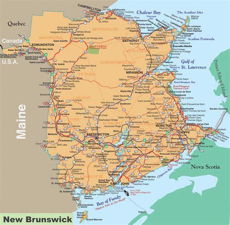map of maine usa and new brunswick canada new brunswick road map