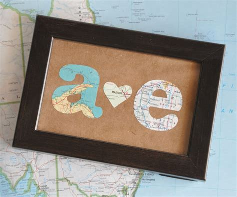 valentines day ideas for distance couples distance relationship map gift initials framed
