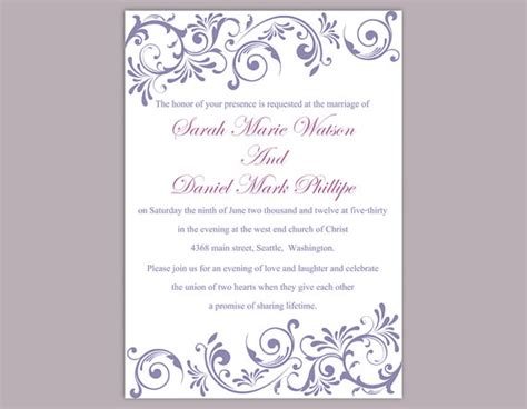 Diy Wedding Invitation Template Editable Text Word File Download Purple Wedding Invitation Editable Wedding Invitation Templates Free