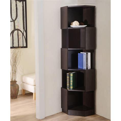 furniture of america laina geometric espresso 5 shelf