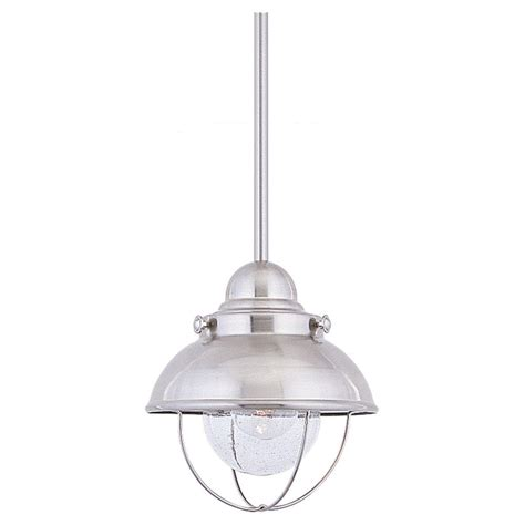 Stainless Pendant Light Sea Gull Lighting Sebring 1 Light Brushed Stainless Outdoor Pendant 6150 98 The Home Depot