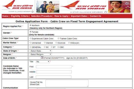 cabin crew application form air india cabin crew recruitment 2017