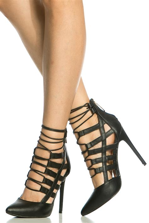 dress up high heels black faux leather lace up pointed toe heels cicihot