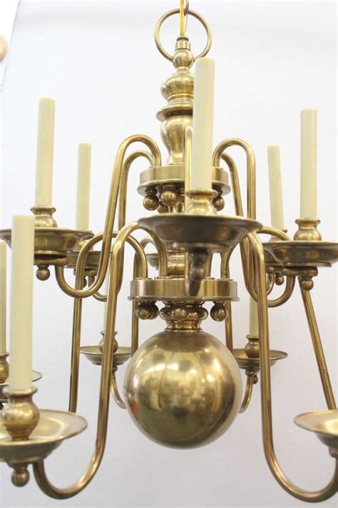 Colonial Brass Chandelier Tiered Colonial Wiliamsburg Style Brass 12 Light Chandelier At 1stdibs