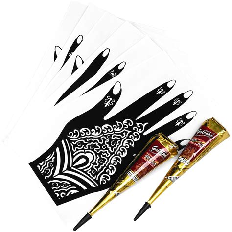 henna tattoo kits with stencils bmc 8pc mehndi henna part kit 2 color cones