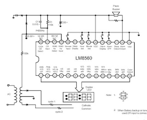 alarm equipped digital clock lm5860 circuit and explanation electronic circuits schematics
