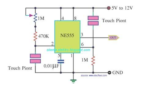 Saklar Timer saklar sentuh sederhana dengan ne555 schematic diagrams