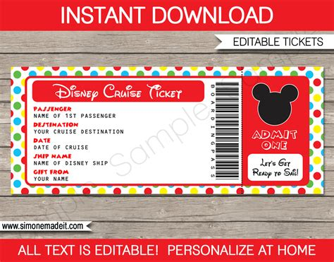 printable pretend disney tickets disney cruise surprise gift ticket mickey mouse boarding