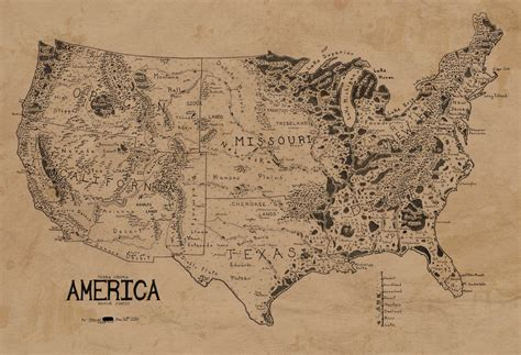lord of the rings map a map of the united states in the style of lord of