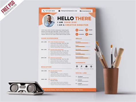 Graphic Resume Templates Psd by Graphic Designer Cv Resume Template Psd