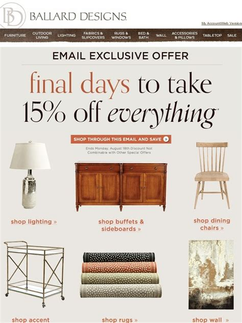 ballards design coupon ballard designs 15 everything ends tomorrow don t miss out milled