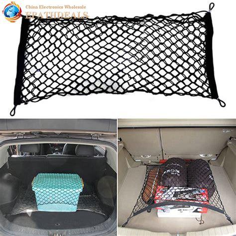 Car Trunk Cargo Net Luggage Mesh Net 102 X 38cm Hitam Omrs4bbk universal car back rear trunk seat elastic string mesh net cargo organizer carrying storage bag