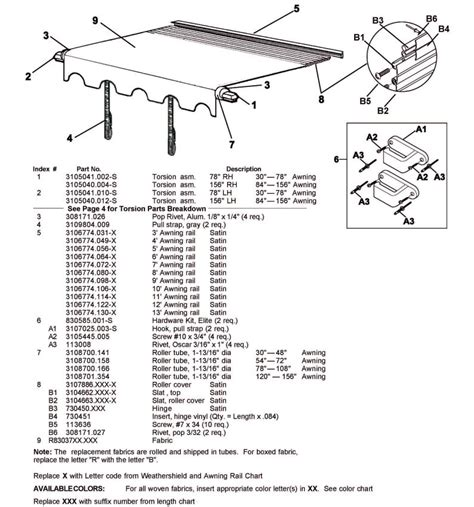 carefree colorado awning parts carefree awning parts diagram car interior design