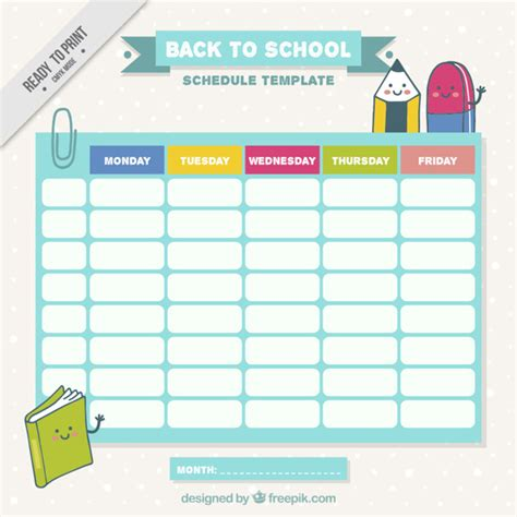 timetable outline template school schedule with drawings vector free
