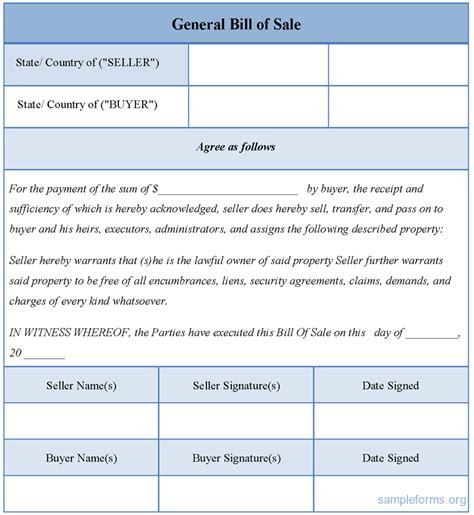 general bill of sale template best photos of general bill of sale template printable