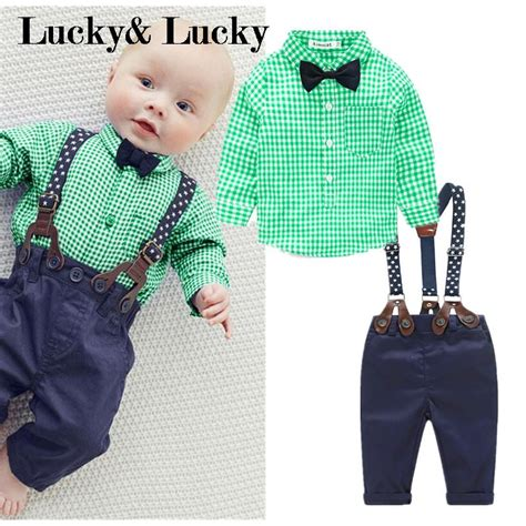 Casual Overall Set green plaid shirt casual overall baby clothes 2pcs set