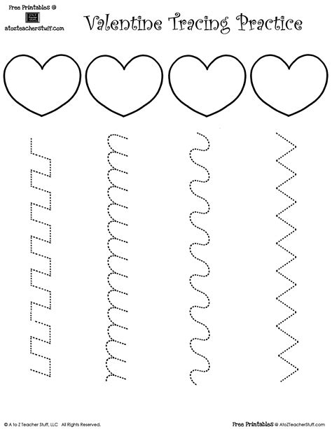 this printable sheet with hearts has various lines for