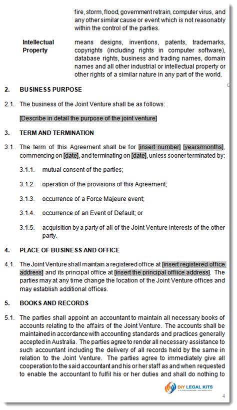 joint venture agreement template jv contract  business