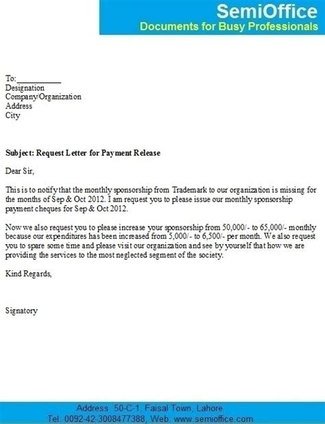 Bill Payment Request Letter request letter for release of outstanding payment