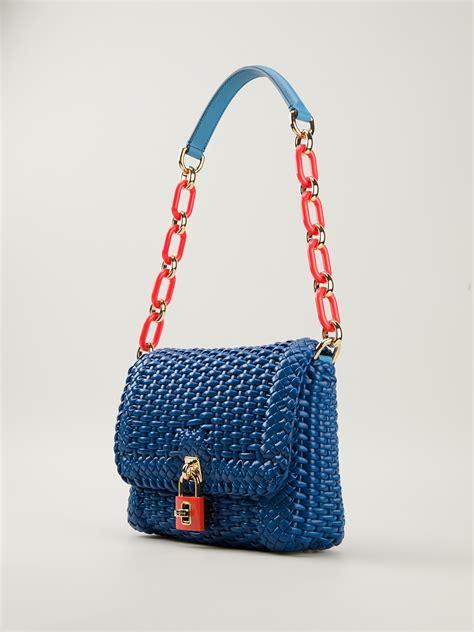 lyst dolce gabbana woven shoulder bag  blue