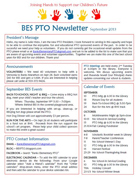 pta newsletter templates banks elementary pto september newsletter school stuff
