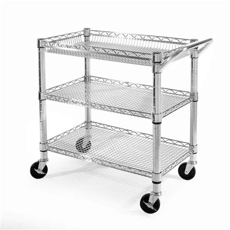Seville Classics 3 Shelf Ultra Zinc Heavy Duty Commercial Home Depot Utility Shelves