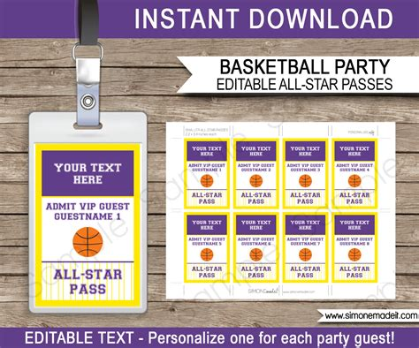 Yellow And Purple Basketball Vip Pass Template All Star Pass Vip Name Tag Template