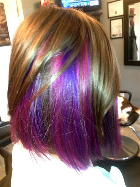 short hairstyles with peekaboo purple layer blonde hair with purple peekaboo highlights www imgkid