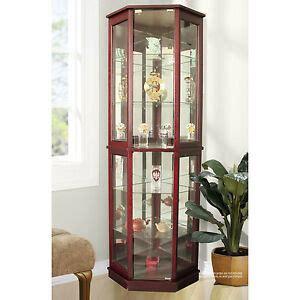 glass lighted door corner curio cabinet display glass doors lighted