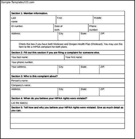 medicare hippa privacy complaint form sle templates
