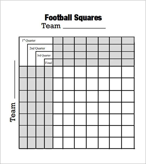 Free Football Square Template by Foot Square Template 7 Free Pdf Doc