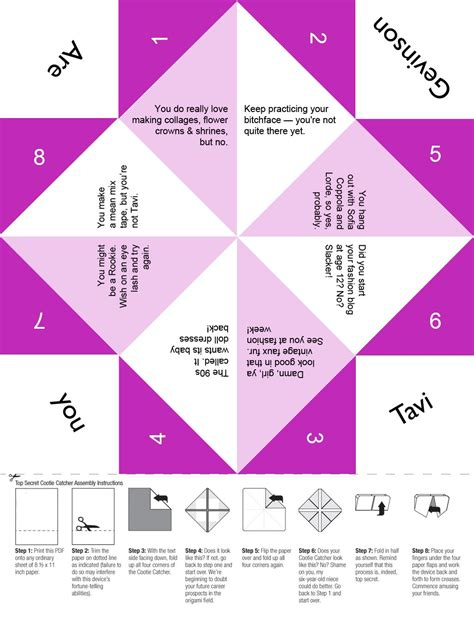 printable origami fortune teller template are you tavi gevinson free printable cootie catcher for