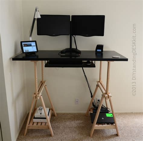standing desk keyboard tray standing desk in black with dual monitor stand and