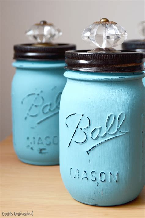 diy jars with decorative crystal knobs crafts unleashed