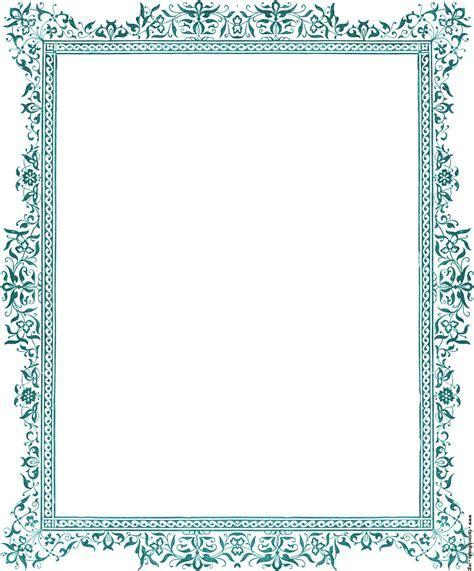 Decorative clip art Victorian border, antique green [image 1347x1623 pixels]