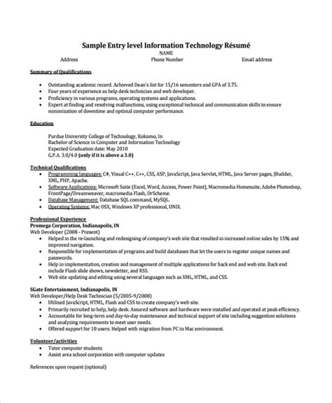 it help desk resume entry level 9 help desk technician resume templates sle templates