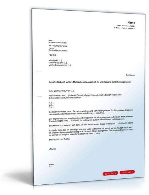 Musterbrief Bearbeitungsgebühr Kredit Zum Ausdrucken R 252 Ckgriff Mietkaution Vorlage Zum