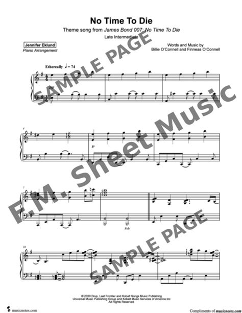 No Time to Die (Late Intermediate Piano) By Billie Eilish