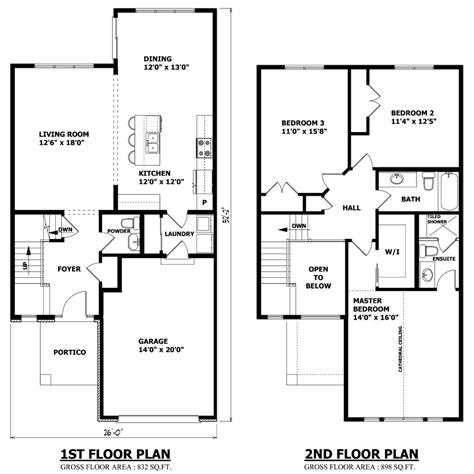 Simple 2 Story 3 Bedroom House Plans In Cad Modern Floor Plan First And Second Two Story House Plans