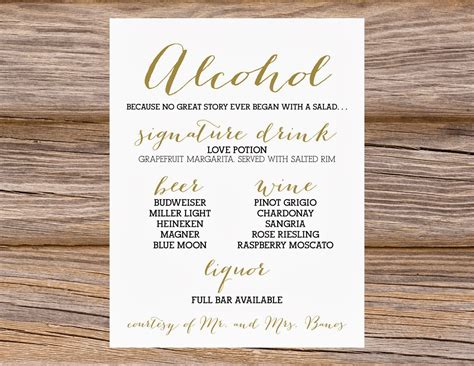 wedding drink menu template free sugar wedding calligraphy bar menus