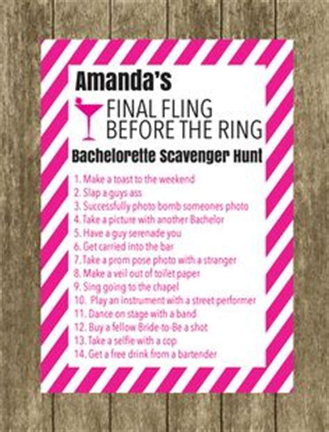 The Bachelor List The Hunt The Wedding By Feather bachelorette scavenger hunt maybe as a