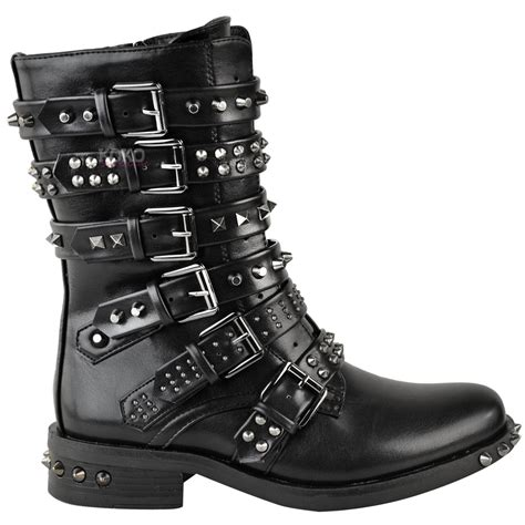 womens biker boots with heels womens ladies studded ankle boots buckle western biker
