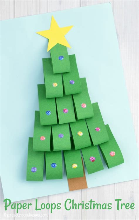 xmas tree activity out of construction paper paper loops tree craft for the resourceful