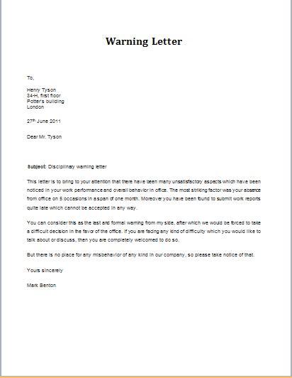 termination letter format for indiscipline discipline warning letter at http www