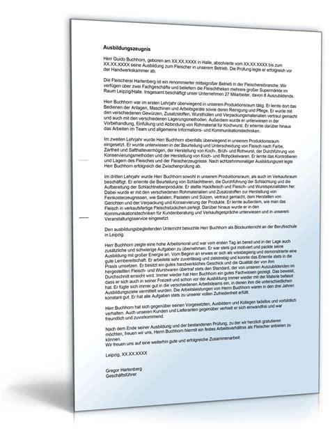 Leistungsbeurteilung Praktikum Vorlage ausbildungszeugnis fleischer note zwei vorlage zum