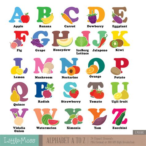 alphabet a z digital clipart vegetable and fruit aphabet
